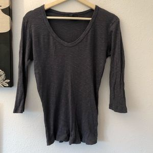 """Left of Center"" Anthropologie charcoal grey top."